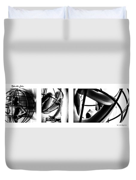 Duvet Cover featuring the photograph Solar Jail Triptych by Stwayne Keubrick