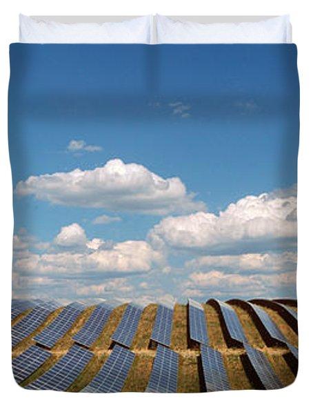 Solar Panels In A Field Duvet Cover