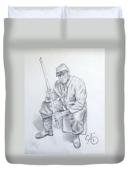 Waiting Soldier Duvet Cover