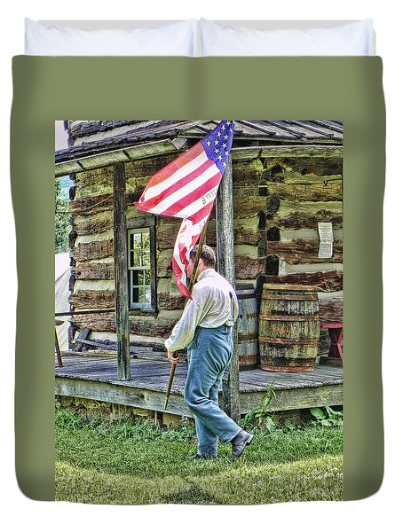 Duvet Cover featuring the photograph Soldier At Bedford Village Pa by Kathy Churchman