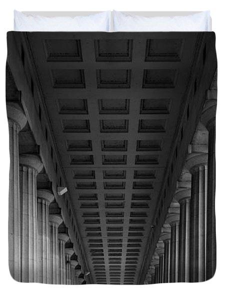 Soldier Field Colonnade Chicago B W B W Duvet Cover by Steve Gadomski