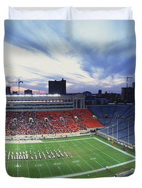 Soldier Field Football, Chicago Duvet Cover by Panoramic Images