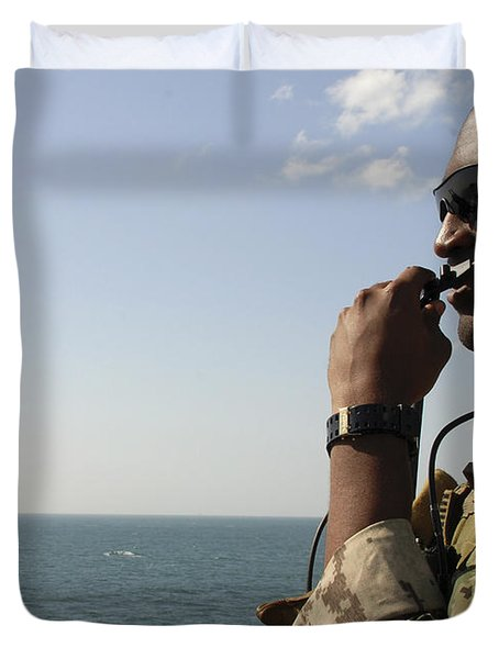 Soldier Instructs Small Boat Maneuvers Duvet Cover by Stocktrek Images