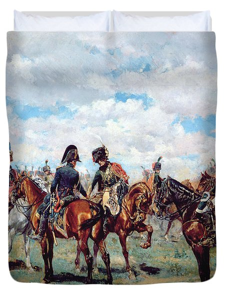 Soldiers On Horseback Duvet Cover by Jean-Louis Ernest Meissonier