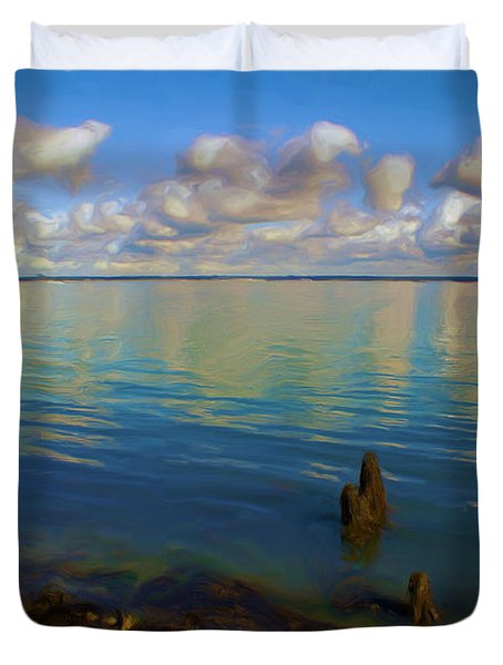 Duvet Cover featuring the digital art Solent by Ron Harpham
