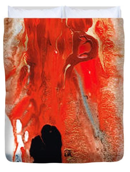Solitary Man - Red And Black Abstract Art Duvet Cover by Sharon Cummings