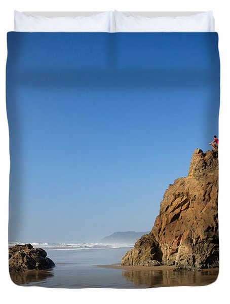 Duvet Cover featuring the photograph Solitary Ocean View by Karen Lee Ensley