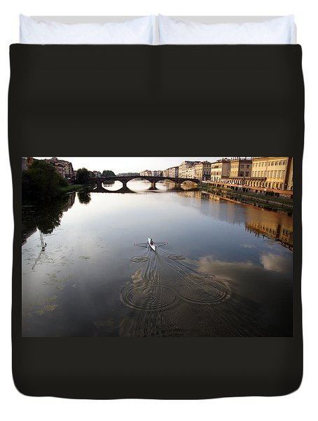 Solitary Sculler Duvet Cover by Debi Demetrion