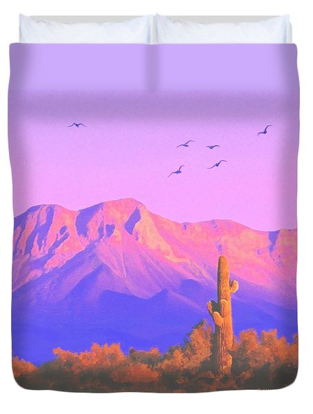 Duvet Cover featuring the painting Solitary Silent Sentinel by Sophia Schmierer