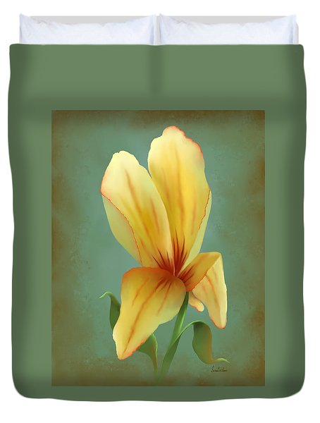 Solitary Yellow Tulip Duvet Cover