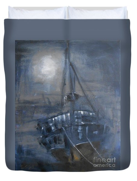 Duvet Cover featuring the painting Solitude 4 by Jane  See