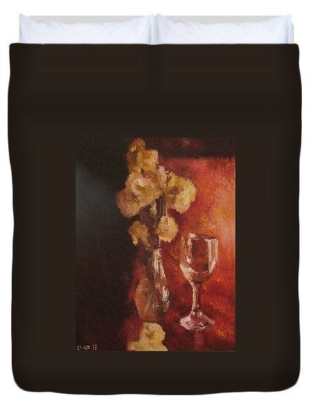 Duvet Cover featuring the painting Solitude by Cherise Foster
