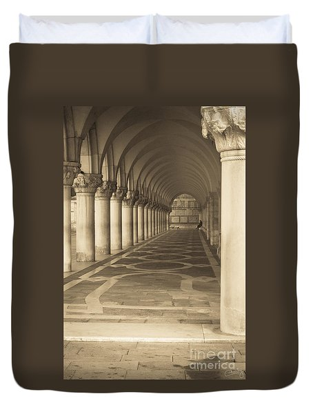Solitude Under Palace Arches Duvet Cover