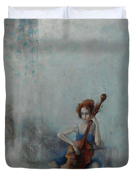 Solo Celloist Duvet Cover