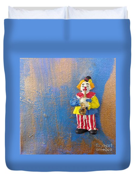 Solo Clown Musician Duvet Cover