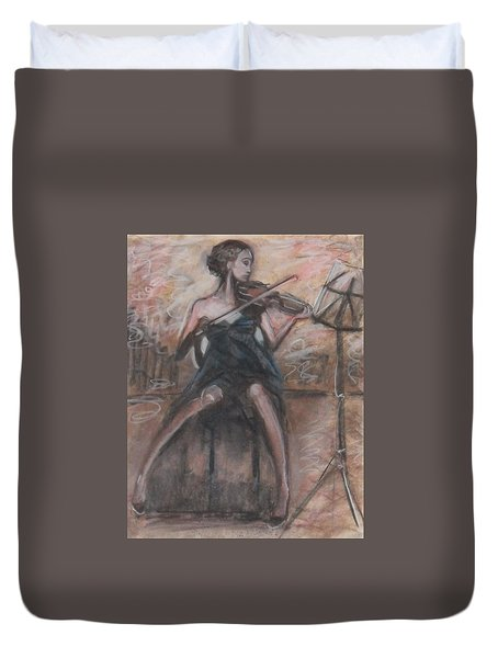 Duvet Cover featuring the painting Solo Concerto by Jarmo Korhonen aka Jarko