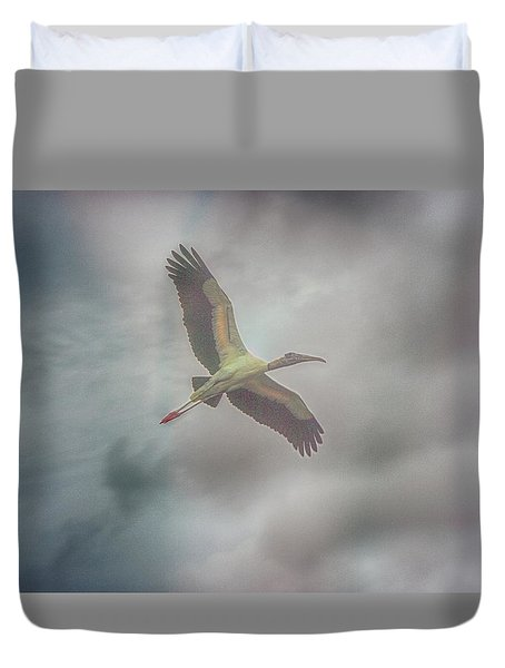 Duvet Cover featuring the photograph Solo Flight by Dennis Baswell
