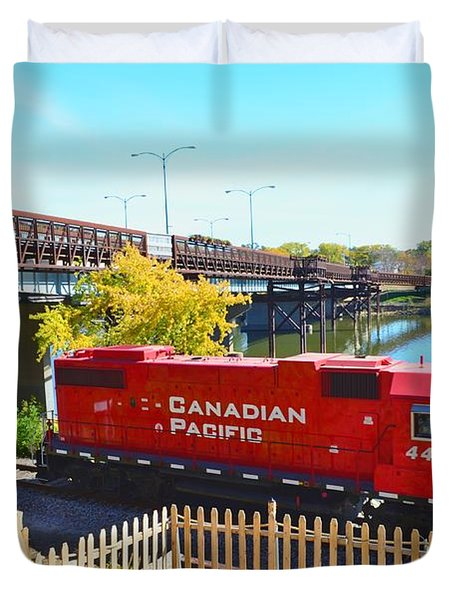 Solo Red Canadian Pacific Engine Along Rock River In Rockford Duvet Cover
