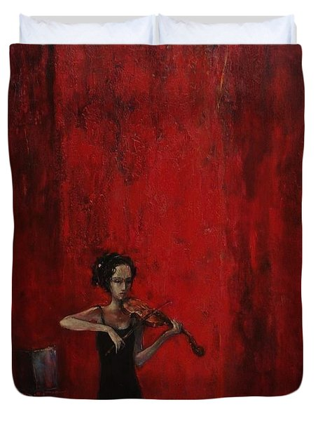 Solo Violinist Duvet Cover