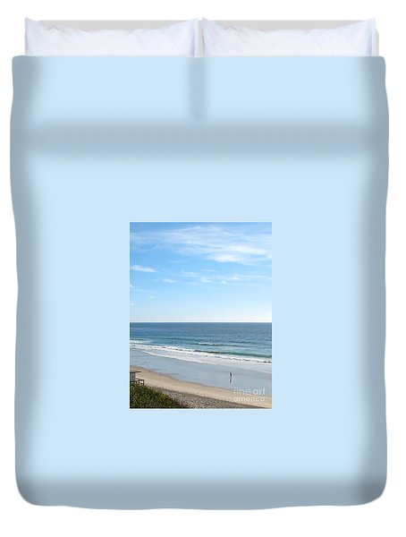 Duvet Cover featuring the photograph Solo Walk On Southern California Beach by Connie Fox