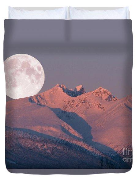 Solstice Sunrise Alpenglow Full Moon Setting Duvet Cover