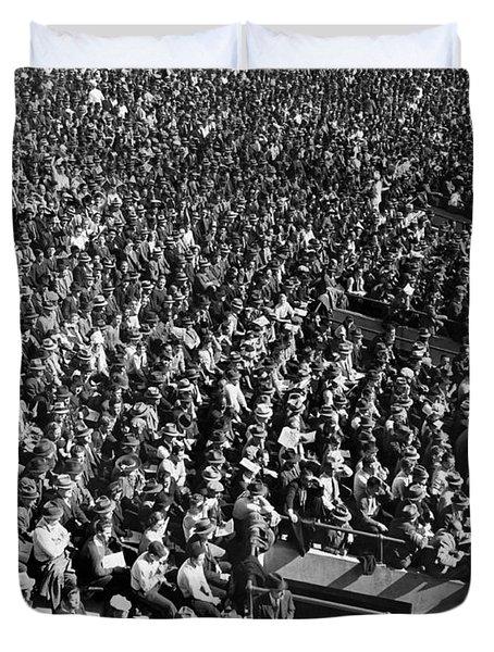 Baseball Fans At Yankee Stadium In New York   Duvet Cover