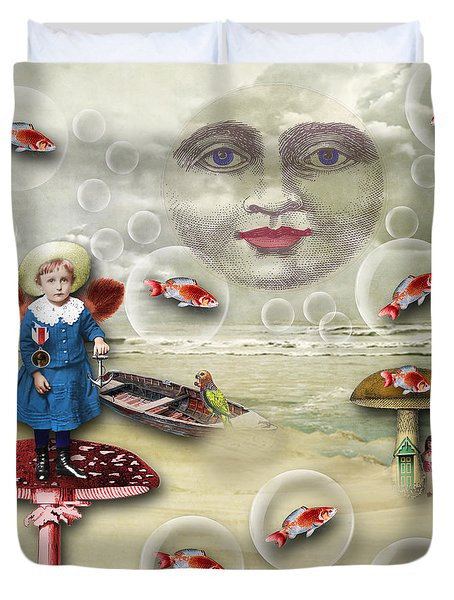 Something Fishy At The Shore Duvet Cover by Bellesouth Studio