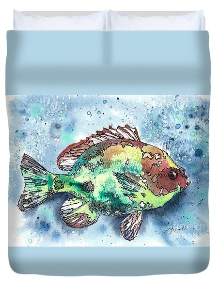 Duvet Cover featuring the painting Something's Fishy by Barbara Jewell