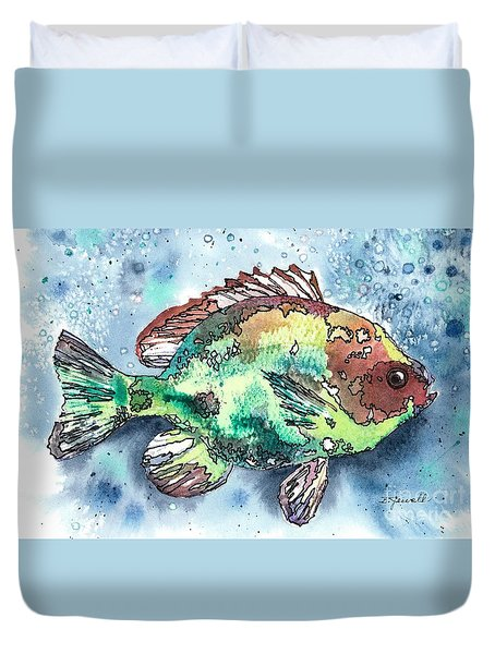 Duvet Cover featuring the painting Something's Fishy Two by Barbara Jewell