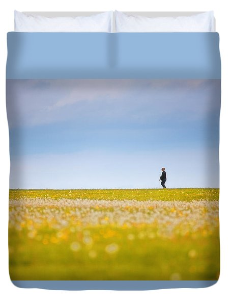 Sometimes We All Walk Alone Duvet Cover by Karol Livote