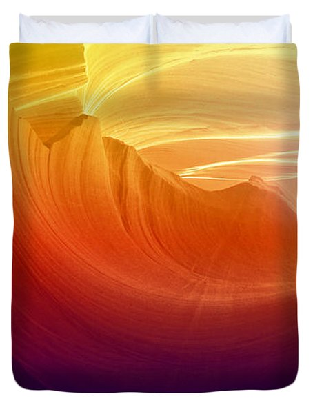 Duvet Cover featuring the photograph Somewhere In America Series - Colorful Light In Antelope Canyon by Lilia D