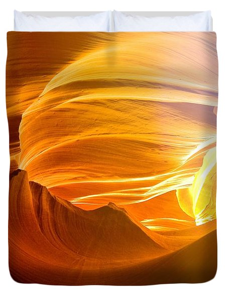 Duvet Cover featuring the photograph Somewhere In America Series - Gold Colors In Antelope Canyon by Lilia D