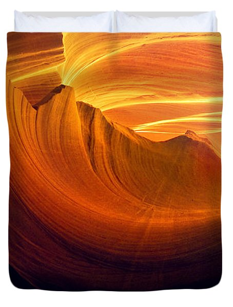 Duvet Cover featuring the photograph Somewhere In America Series - Golden Yellow Light In Antelope Canyon by Lilia D