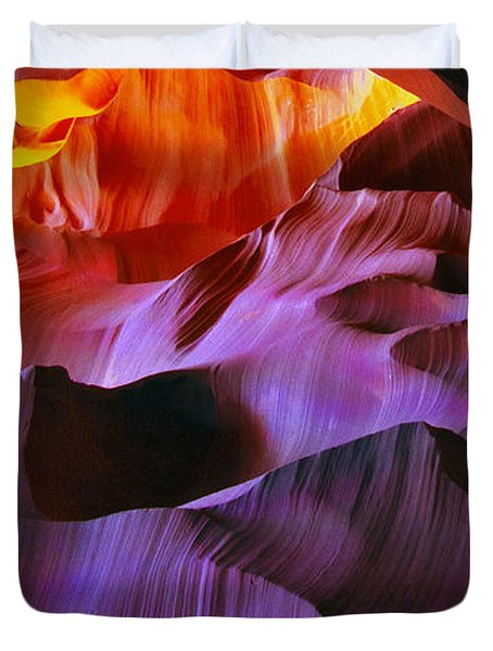 Duvet Cover featuring the photograph Somewhere In America Series - Transition Of The Colors In Antelope Canyon by Lilia D