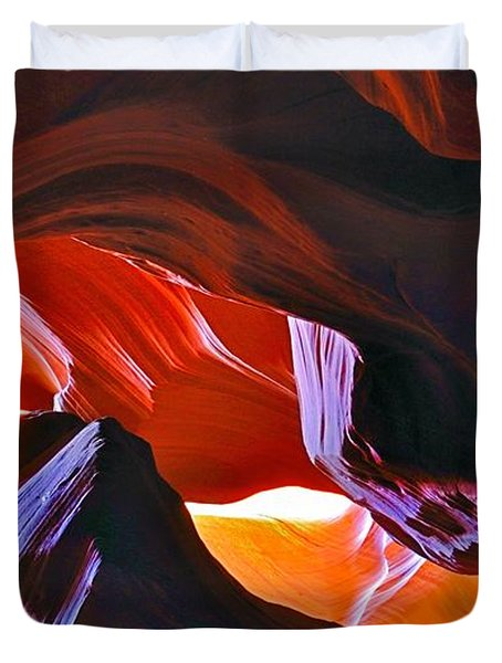 Duvet Cover featuring the photograph Somewhere In Waves In Antelope Canyon by Lilia D