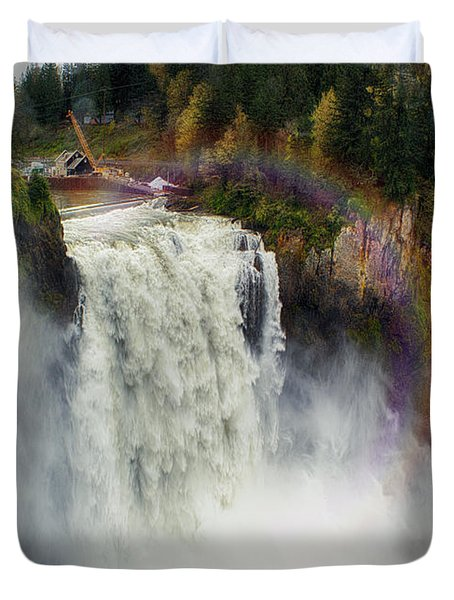 Somewhere Over The Falls Duvet Cover by James Heckt