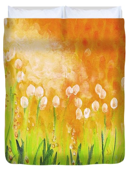 Duvet Cover featuring the painting Sonbreak by Holly Carmichael
