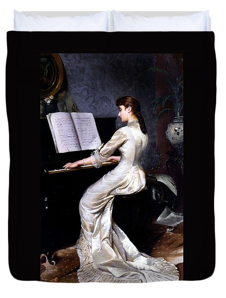 Song Without Words, Piano Player, 1880 Duvet Cover by George Hamilton Barrable