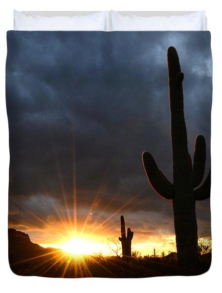 Sonoran Desert Rays Of Hope Duvet Cover by Bob Christopher
