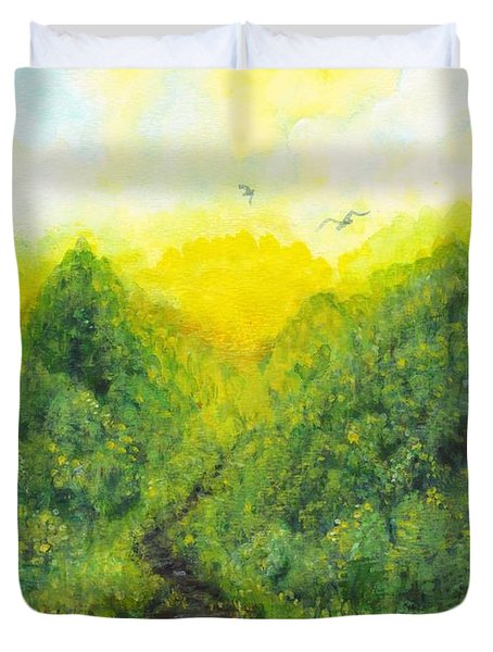 Duvet Cover featuring the painting Sonsoshone by Holly Carmichael
