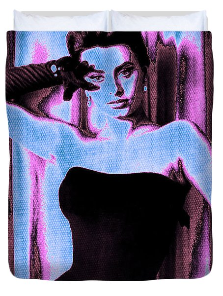 Sophia Loren - Blue Pop Art Duvet Cover by Absinthe Art By Michelle LeAnn Scott