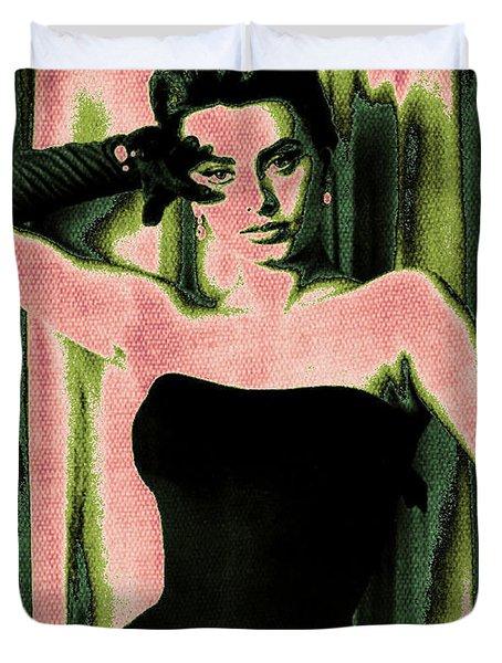 Sophia Loren - Pink Pop Art Duvet Cover by Absinthe Art By Michelle LeAnn Scott