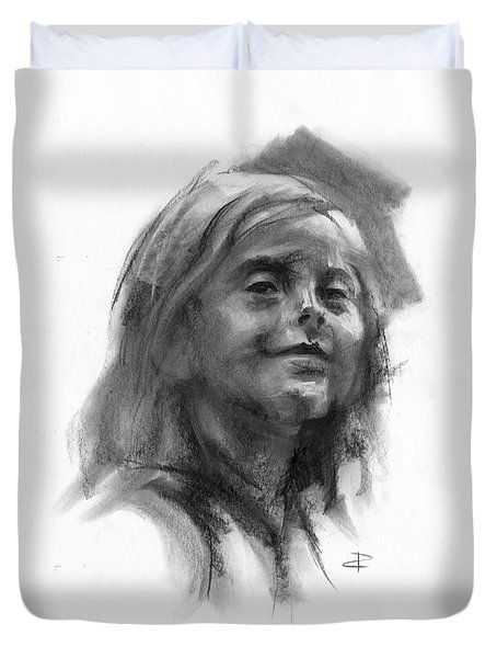 Duvet Cover featuring the drawing Sophie by Paul Davenport