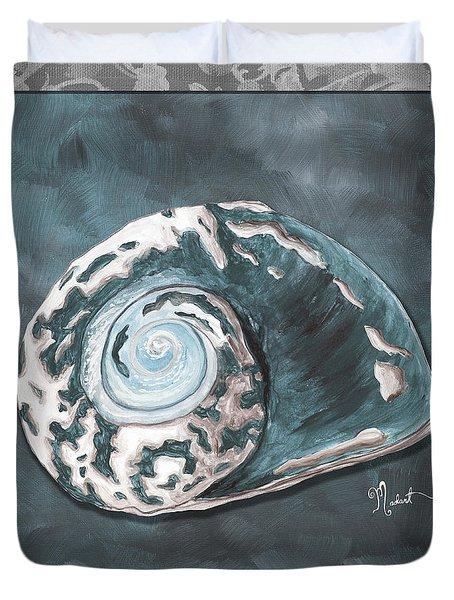 Sophisticated Coastal Art Original Sea Shell Painting Beachy Sea Snail By Megan Duncanson Of Madart Duvet Cover by Megan Duncanson