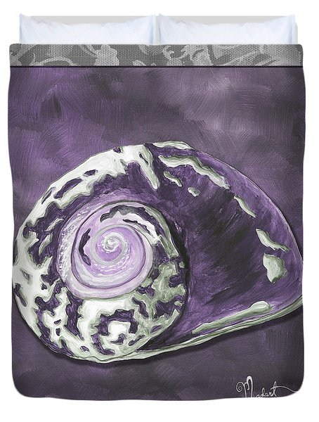 Sophisticated Coastal Art Original Sea Shell Painting Purple Royal Sea Snail By Madart Duvet Cover by Megan Duncanson