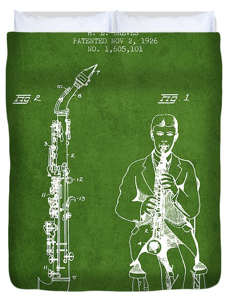 Soprano Saxophone Patent From 1926 - Green Duvet Cover by Aged Pixel