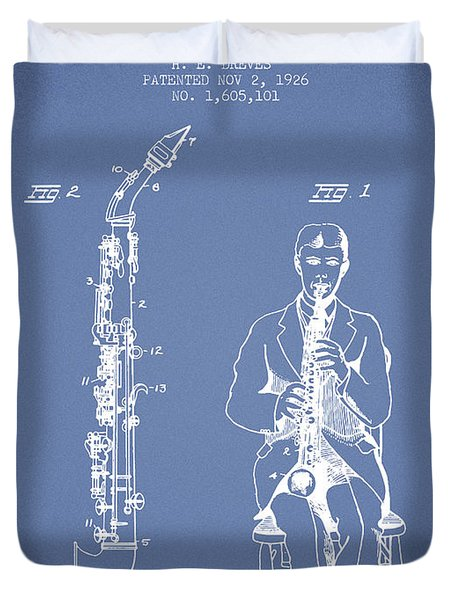 Soprano Saxophone Patent From 1926 - Light Blue Duvet Cover by Aged Pixel