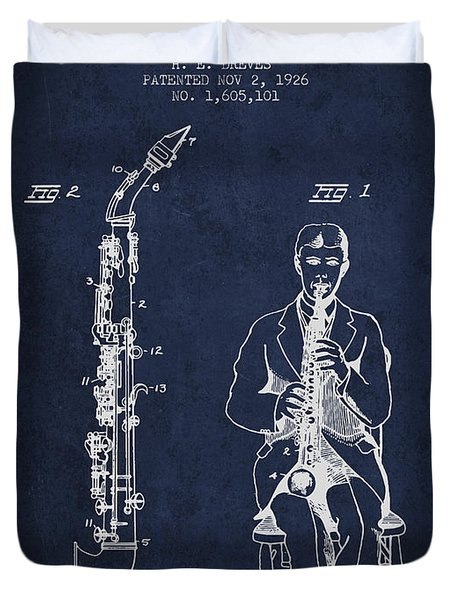 Soprano Saxophone Patent From 1926 - Navy Blue Duvet Cover by Aged Pixel