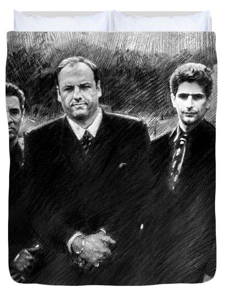 Duvet Cover featuring the drawing Sopranos James Gandolfini by Viola El