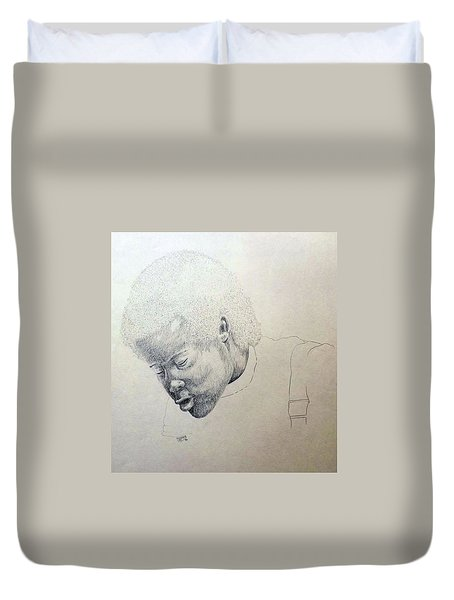 Duvet Cover featuring the drawing Sorrow by Richard Faulkner